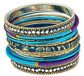 Blue Mixed Media Stackable Bangle Bracelets