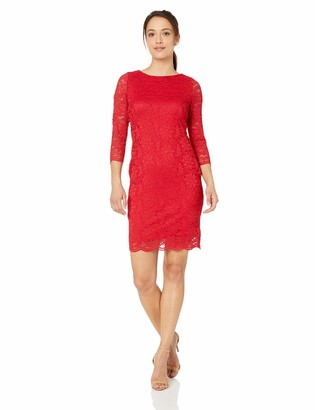Calvin Klein Women's Petite Three Quarter Lace Sheath Dress