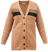 Fendi Striped Chunky-knit Cotton-blend Cardigan - Womens - Light Brown