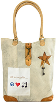 Vintage Addiction Tan 'All We Need is Peace Love and Music' Canvas Tote