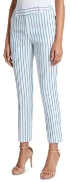 Tahari ASL Striped Pleated Linen Ankle Pants