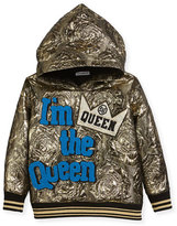 Dolce & Gabbana I'm the Queen Metallic Hoodie, Size 4-6