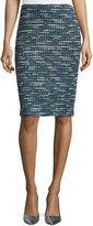 St. John Martinique Tweed Pencil Skirt, Caviar/Laguna/Multi
