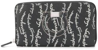 Salvatore Ferragamo Logo-Print Zip-Around Continental Wallet