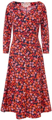 Marni Floral Printed Midi Dress
