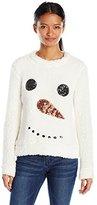Miss Chievous Juniors Sequin Snowman Soft Cozy Christmas Sweater