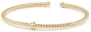 David Yurman Cablespira 18k Gold Flex Bracelet with Diamond Center Station, Size M