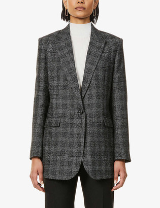 Sandro Dom wool and linen-blend checked blazer