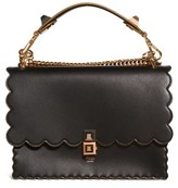 Fendi Kan I Scallop Leather Shoulder Bag - Black