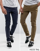 Asos Tall 2 Pack Skinny Chinos In Khaki & Navy Save