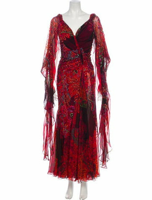 Elie Saab Printed Long Dress Red