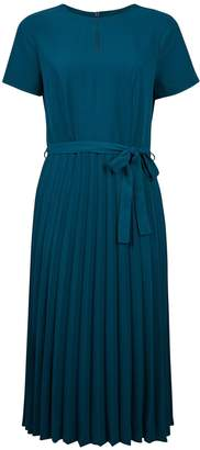 Dorothy Perkins Womens Teal Blue Pleated Midi Dress With Pleated Skirt, Blue