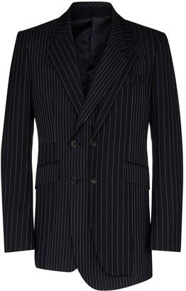Alexander McQueen Asymmetric Pinstriped Wool Blazer