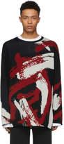 Yohji Yamamoto Black Painted Crewneck Sweater