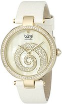 Burgi Women's BUR143IV Round Cream Mother of Pearl and Yellow Gold Dial with Swarovski Crystals Quartz Movement Satin Strap Watch