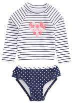 Little Me Stripe Two-Piece Rashguard Swimsuit