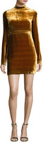 A.L.C. Gemma Long-Sleeve Velvet Mini Dress, Gold