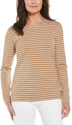 Coolibar Women's Tee Shirts - Camel & Cream Stripe Morada Everyday Long-Sleeve Tee - Women & Plus