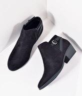 Unique Vintage Retro Style Black Suede Buckle Booties