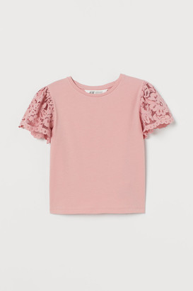 H&M Lace-sleeved top