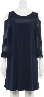 Nina Leonard Women's Mesh Panel Cold-Shoulder Swing Dress