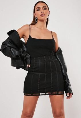 Missguided Black Lace Panel Mini Skirt