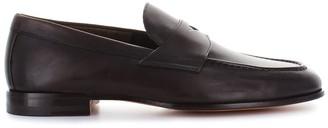 Santoni Dark Brown Leather College Unlined Moccasin