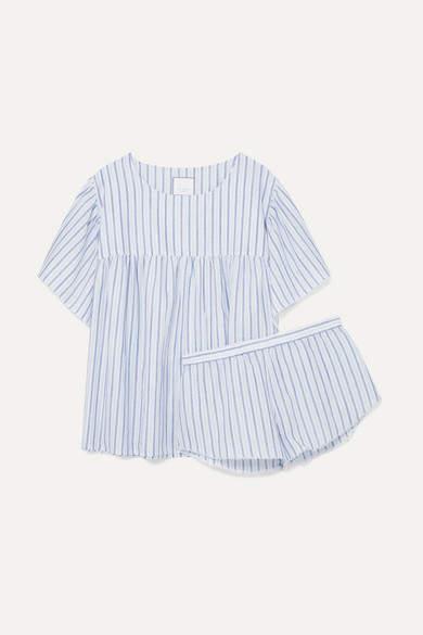 Three J NYC Anna Striped Cotton-voile Pajama Set - Blue