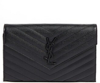 Saint Laurent Monogram Quilted Leather Wallet on a Chain