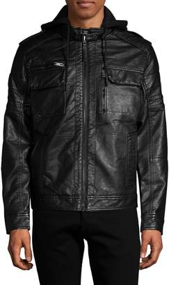 ProjekRaw Hooded Zip-Front Faux-Leather Jacket