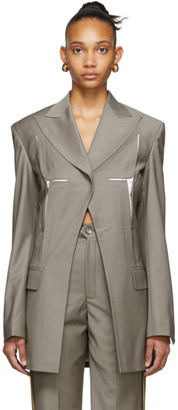 Situationist Grey Wool Chest Detail Blazer