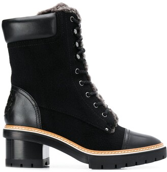 Tory Burch fur-trimmed ankle boots