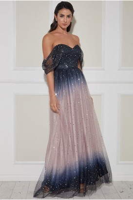 Goddiva Ombre Shoulder Wing Maxi Dress - Blush