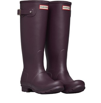 Hunter Womens Original Classic Tall Matt Wellington Boots Black Grape