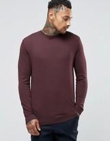 Asos Cotton Crew Neck Sweater in Plum