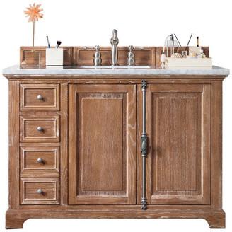 "James Martin Vanities Providence 48"" Vanity, Driftwood, 3cm Classic White Quartz Top"