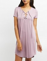 Charlotte Russe Lace-Up T-Shirt Dress
