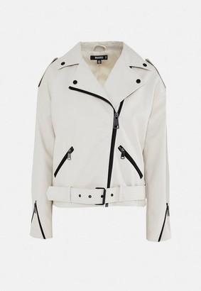 Missguided Faux Leather Oversized Boyfriend Biker Jacket