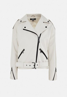 Missguided White Faux Leather Oversized Boyfriend Biker Jacket