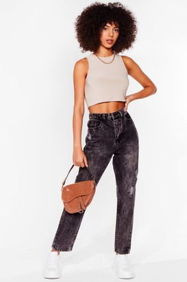 Nasty Gal Womens Wash Your Tone Distressed Mom Jeans - Grey - 4, Grey