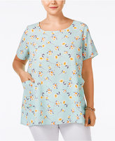 ING Trendy Plus Size Floral-Print Pocketed Tunic Top