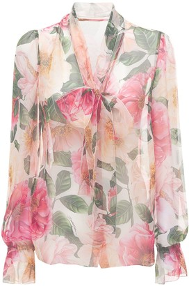 Dolce & Gabbana Camelia Print Sheer Chiffon Shirt W/Bow