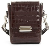 Creatures of Comfort Small Croc Embossed Leather Camera Bag - Brown