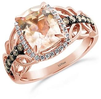 LeVian Chocolatier 14K Strawberry Gold, Peach Morganite, Chocolate Diamond Vanilla Diamond Ring/Size 7