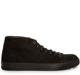 Lanvin Mid-top grained-suede trainers