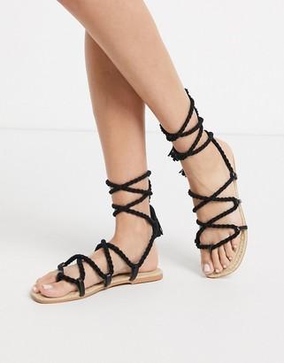 ASOS DESIGN Jessica rope tie leg espadrille sandals in black