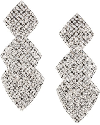 Alessandra Rich Crystal-Embellished Square-Drop Earrings