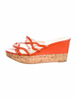 Prada Patent Leather Sandals Orange