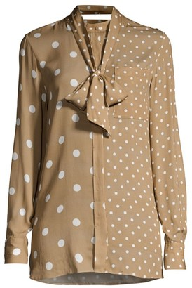 Elie Tahari Nina Mixed Polka Dot Blouse