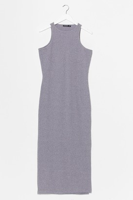 Nasty Gal Womens Standards High Ribbed Midi Dress - Grey